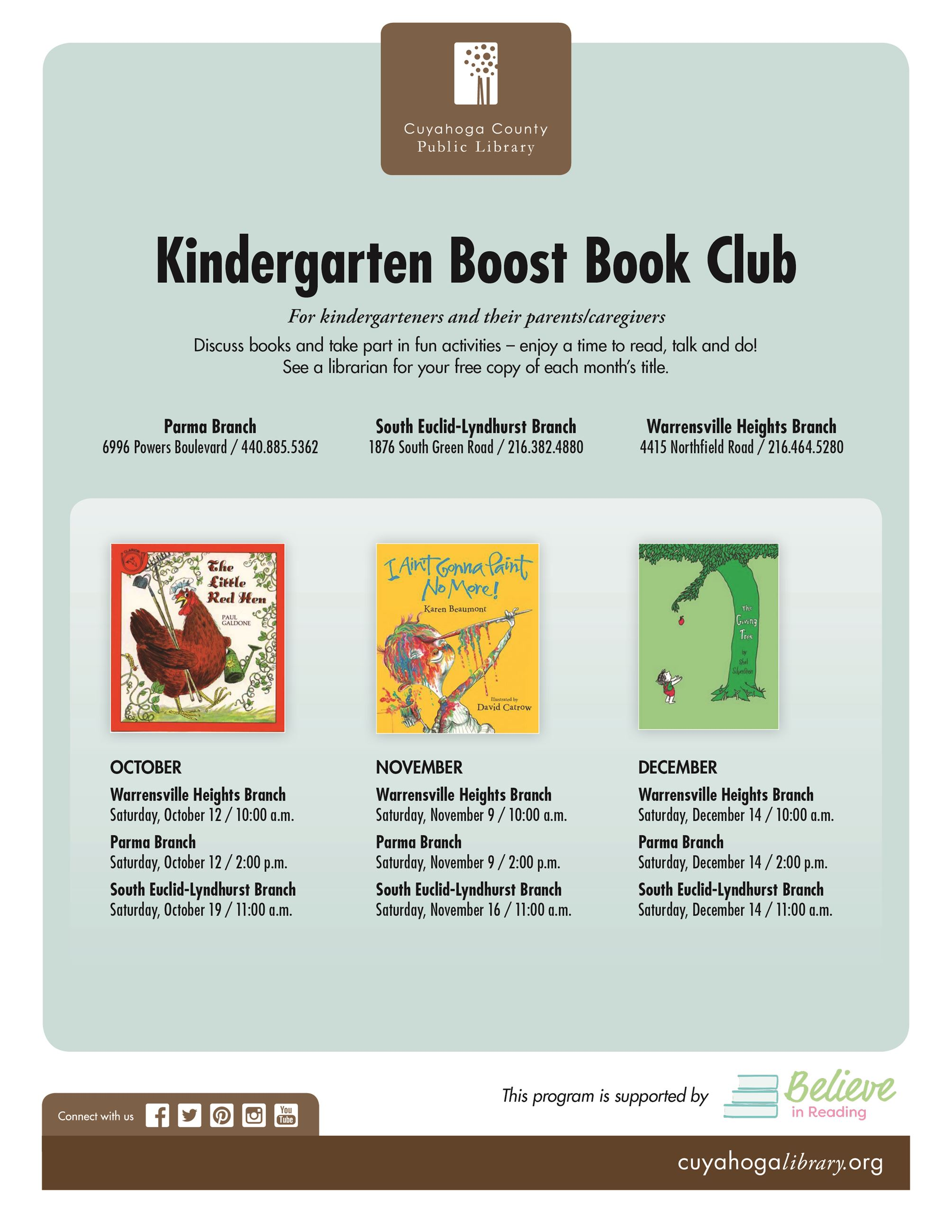 Kindergarten Boost Book Club Fall 2019 Full-Page Flier Final