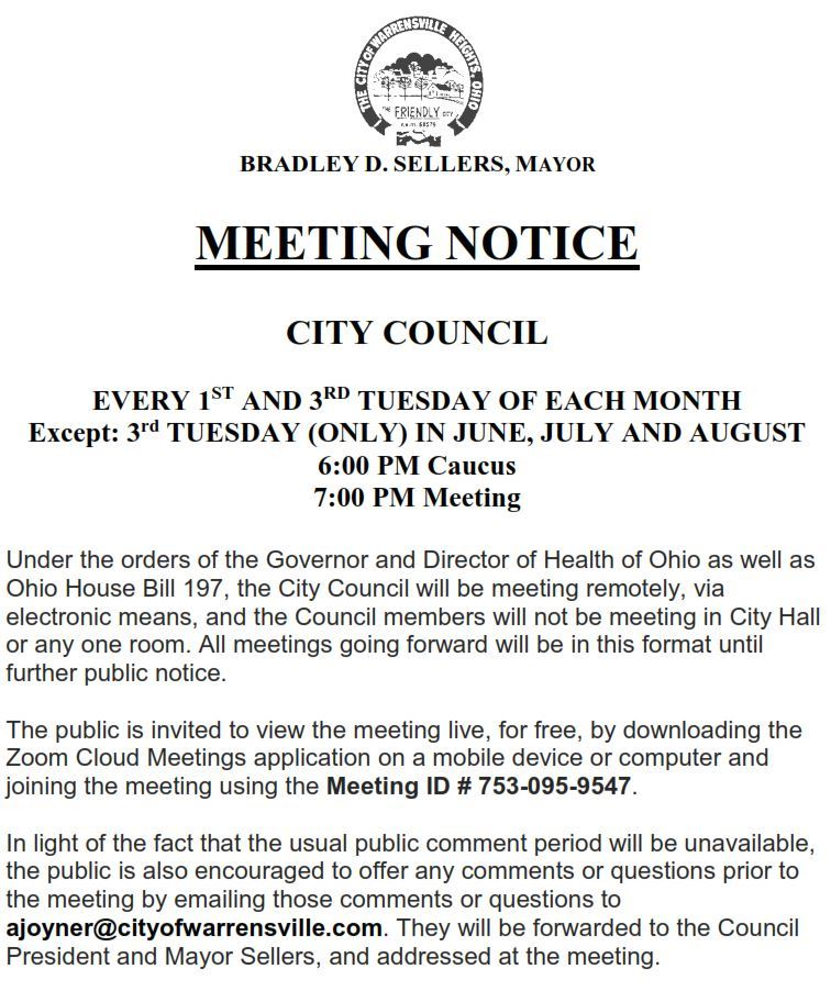Council remote meeting notice 421